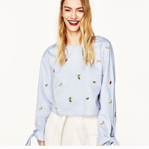 Zara Basic Embroidered Open-Back Top